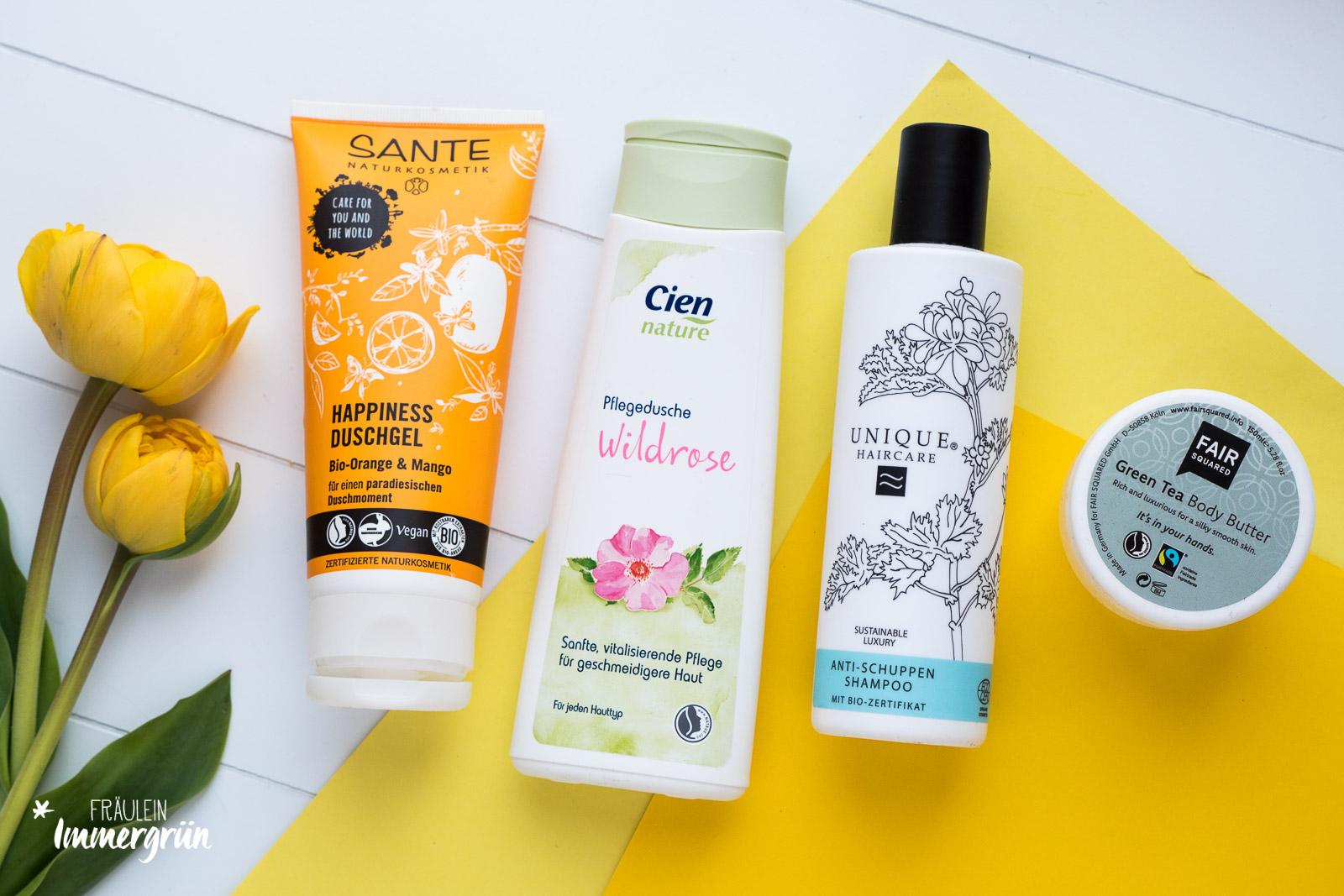 Sante Happiness Duschgel,  Cien Nature Pflegedusche Wildrose,  Unique Haircare Anti-Schuppen-Shampoo,  Fair Squared Green Tea Body Butter