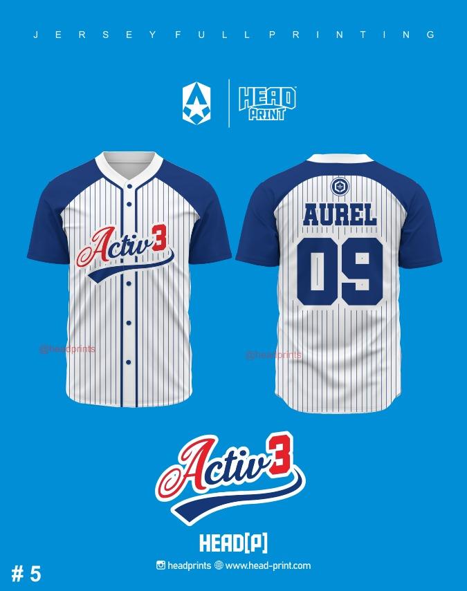 Activ3 Jersey Baseball Full Printing Contoh Desain - Jersey Baseball Satuan Jogja