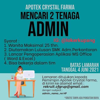 Lowongan Kerja Apotek Crystal Farma Sebagai Admin
