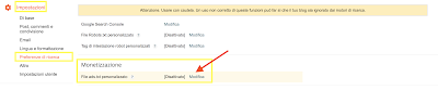 Procedura inserimento file ads,txt in Blogspot