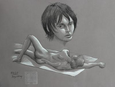 garçons nus, crayon, craie, graphite, pierre noire, Bélézy