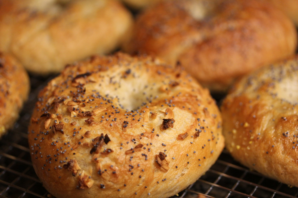 Bagels with poppy seeds and onions.