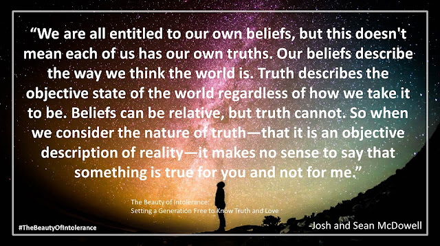 "Quote from ""The Beauty of Intolerance"" by Josh and Sean McDowell- ""We are all entitled to our own beliefs, but this doesn't mean each of us has our own truths. Our beliefs describe the way we think the world is. Truth describes the objective state of the world regardless of how we take it to be. Beliefs can be relative, but truth cannot. So when we consider the nature of truth—that it is an objective description of reality—it makes no sense to say that something is true for you and not for me."""