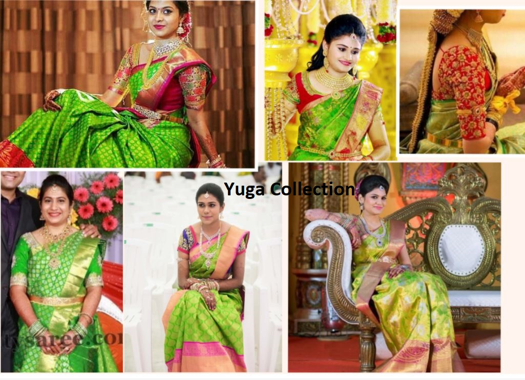 8e2be0d87f5a9 Parrot Green Kanjeevaram Bridal sarees with contrast Blouse combination
