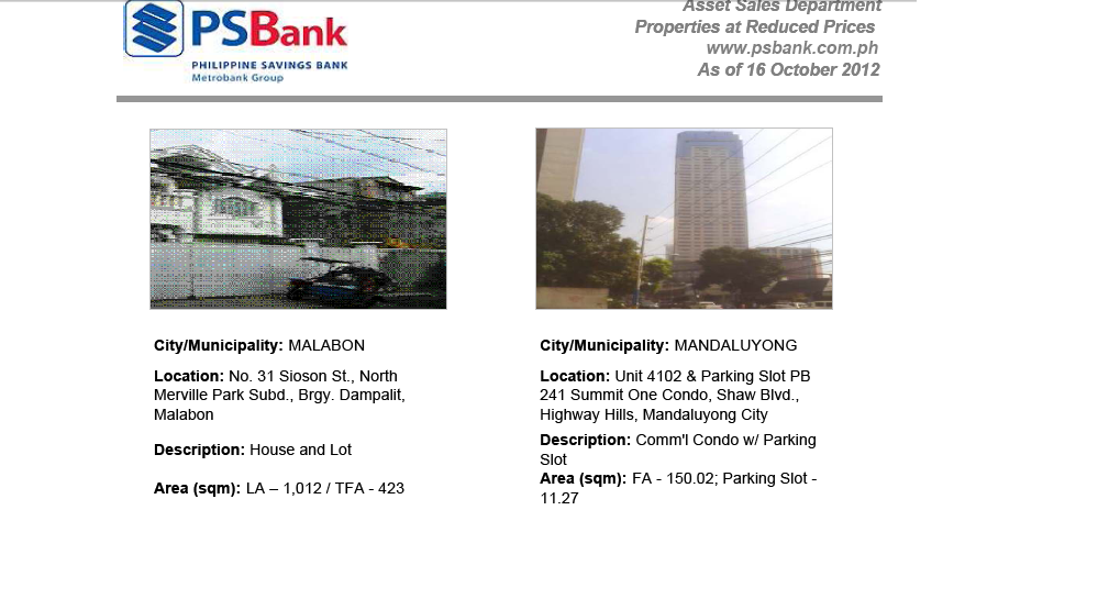 INVESTMENT AND JOB OPPORTUNITIES : PS BANK FORECLOSED