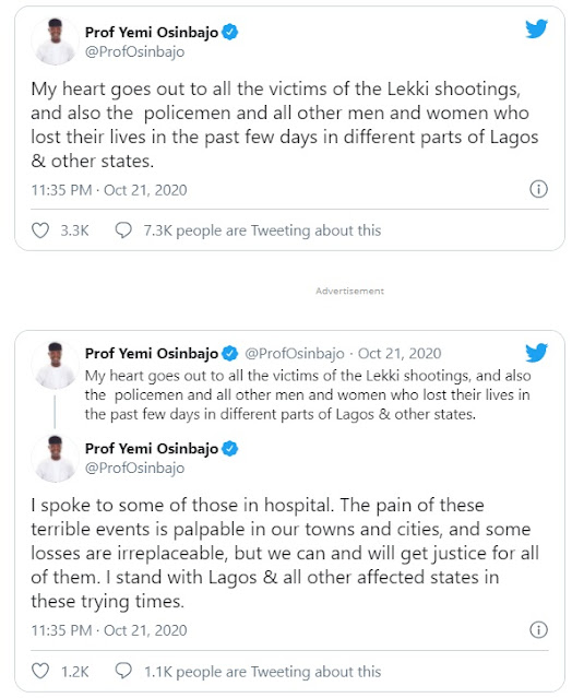 BREAKING: 'These are trying times' — Osinbajo breaks silence on Lekki shooting