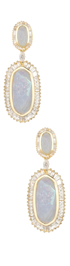 Kendra Scott Baguette-Trim Oval Druzy Drop Earrings