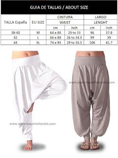 pantalones turcos con tres tallas disponibles