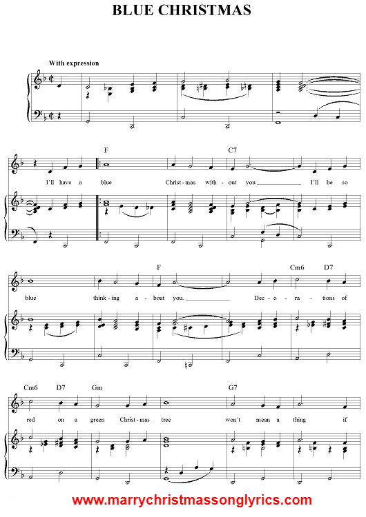 Blue Christmas Song Sheet Music