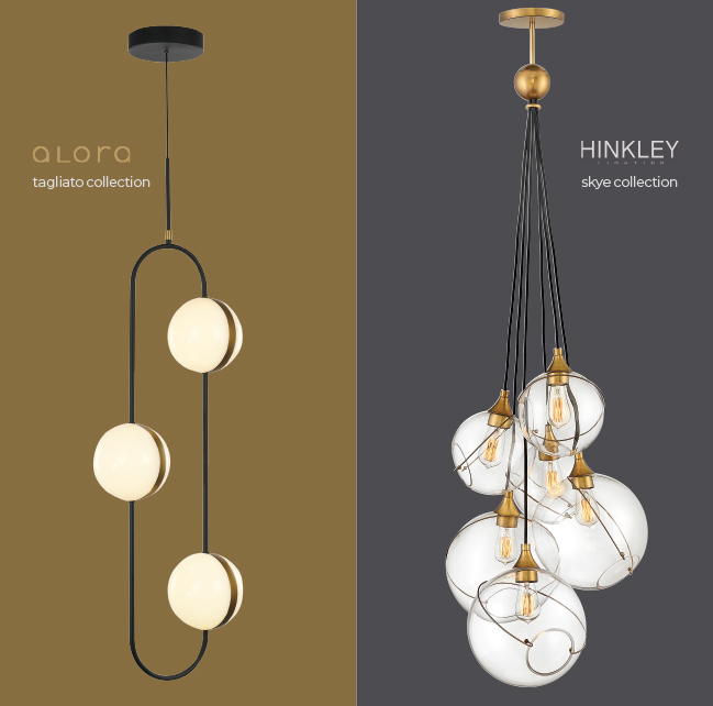 Alora Tagliato Pendant and Hinkley Skye Pendant in mixed metals