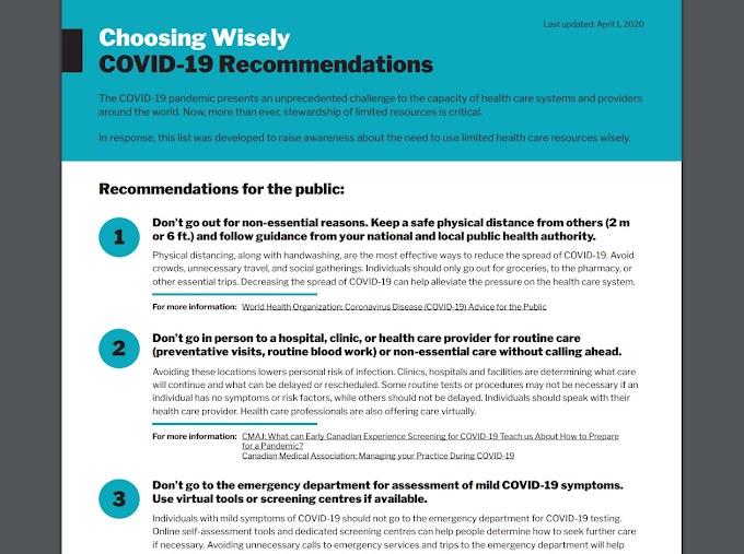 Choosing Wisely Canada elabora una lista de recomendaciones ante los limitados recursos de atención médica