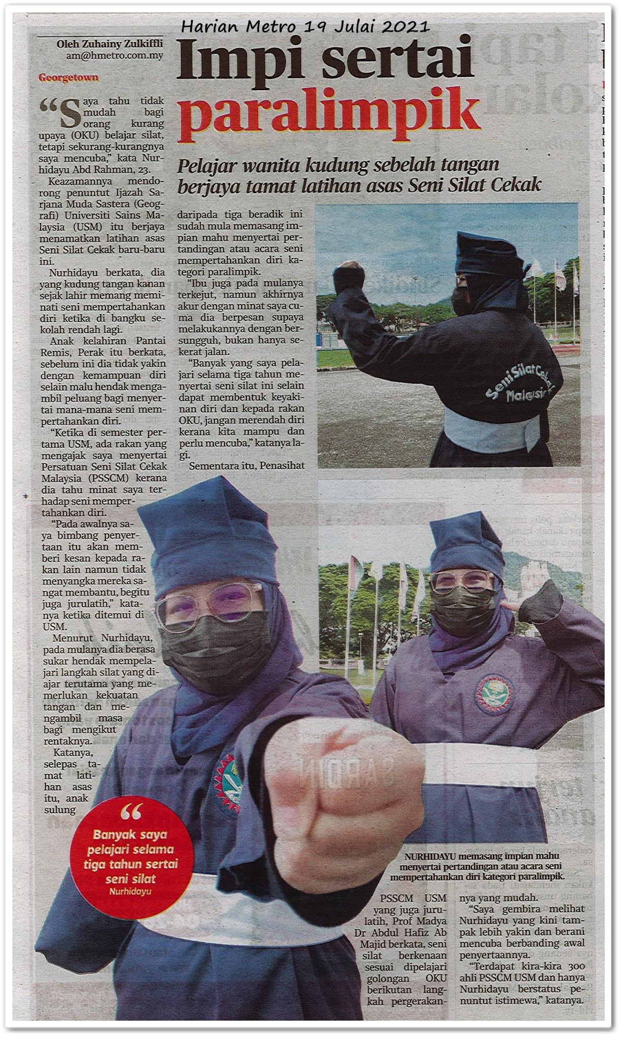 Impi sertai paralimpik - Keratan akhbar Harian Metro 19 Julai 2021