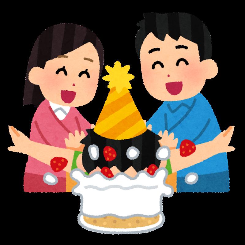 誕生日ケーキに顔を突っ込まれる人のイラスト かわいいフリー素材集