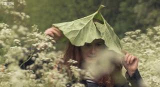 Alys wears a leaf as a hat