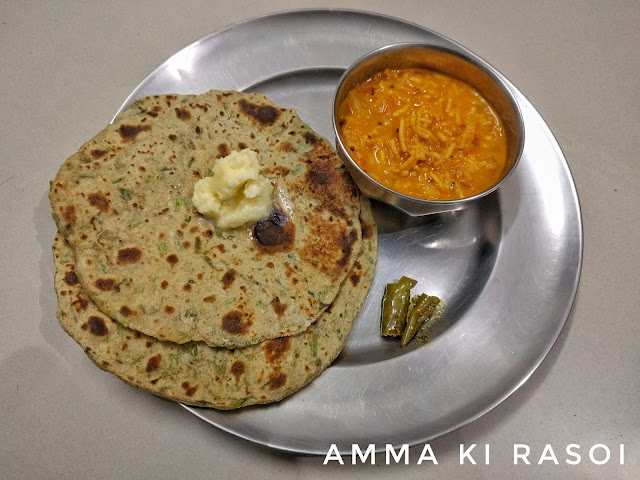 Rajasthani Dhaba Style Sev ki Sabzi with methi paratha and homemade butter