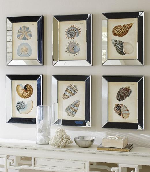 Shell Art in Mirrored Frames
