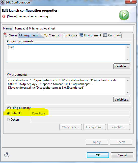Java Code and Solutions: How to change working directory in Apache
