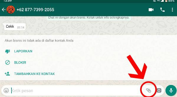 Klik Menu Lampiran File Pada Chat WhatsApp