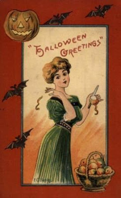 Apple Fortune Telling, Vintage Halloween Postcard