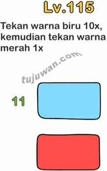 Kunci Jawaban Brain Out level 115 Tekan Warna Biru 10x Kemudian Tekan Warna Merah 1x