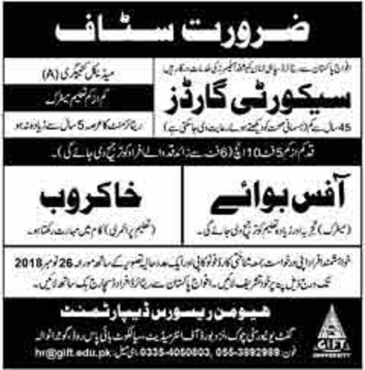 Latest Jobs in Gift University Gujranwala Nov 2018
