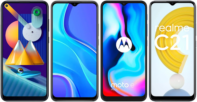 Samsung Galaxy M11 vs Xiaomi Redmi 9 vs Motorola Moto E7 Plus vs Realme C21