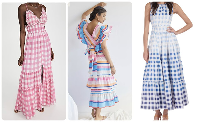 pink gingham ruffle maxi dress tracy reese ruffle maxi staud blue gingham dress