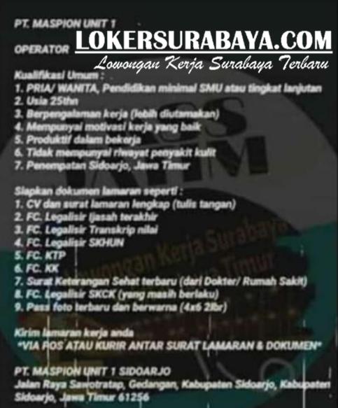 Lowongan Kerja Sidoarjo Di Pt Maspion Unit 1 Agustus 2020 Lowongan Kerja Surabaya April 2021 Lowongan Kerja Jawa Timur Terbaru