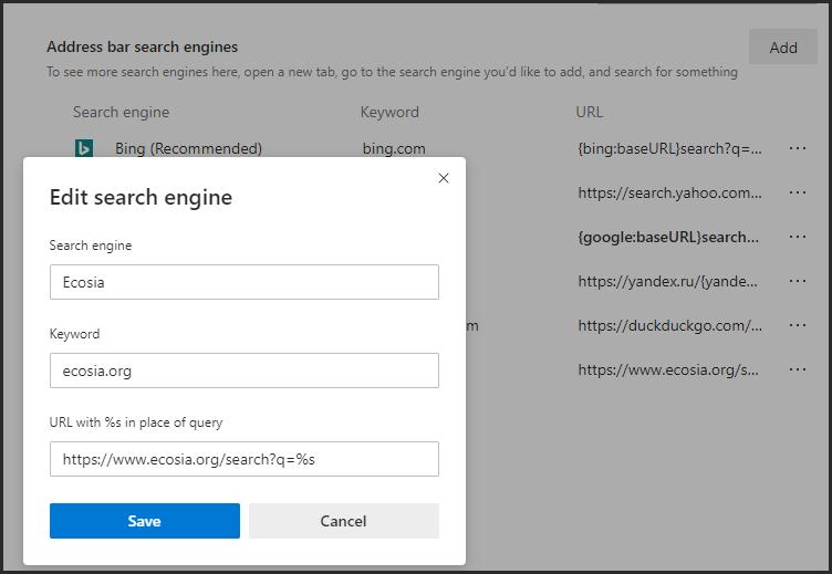 إضافة محرك بحث لمايكروسوفت إيدج
