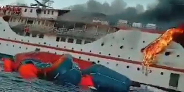KM Karya Indah Kebakaran Di Tengah Laut, Angkut 81 Penumpang