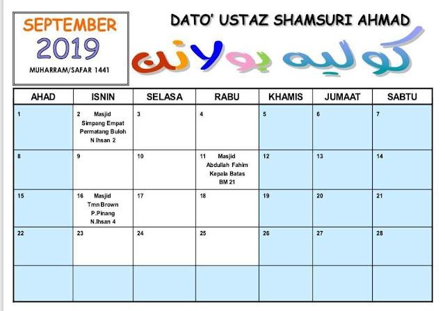 Jadual Kuliah Ustaz Shamsuri September 2019