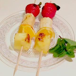 brocheta fruta caramelizada receta postre navidad blog mimuselina menú embarazada qué comer y qué no menu navidad