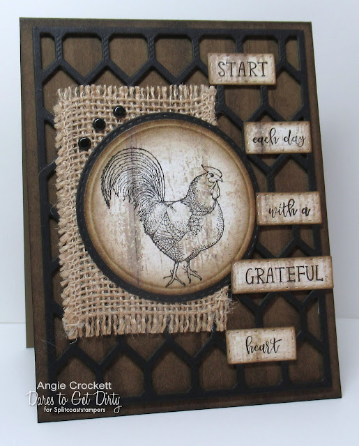 Divinity Designs LLC: Rise and Shine, Chicken Wire Background Die, Weathered Wood Paper Collection, Log Cabin Quilt Die, Double Stitched Circles Dies, Circles Dies, Card Designer Angie Crockett