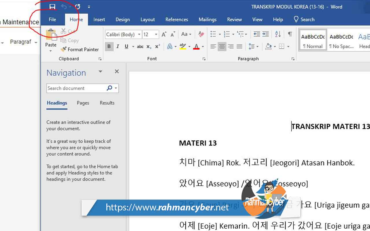 Menu File MS Word