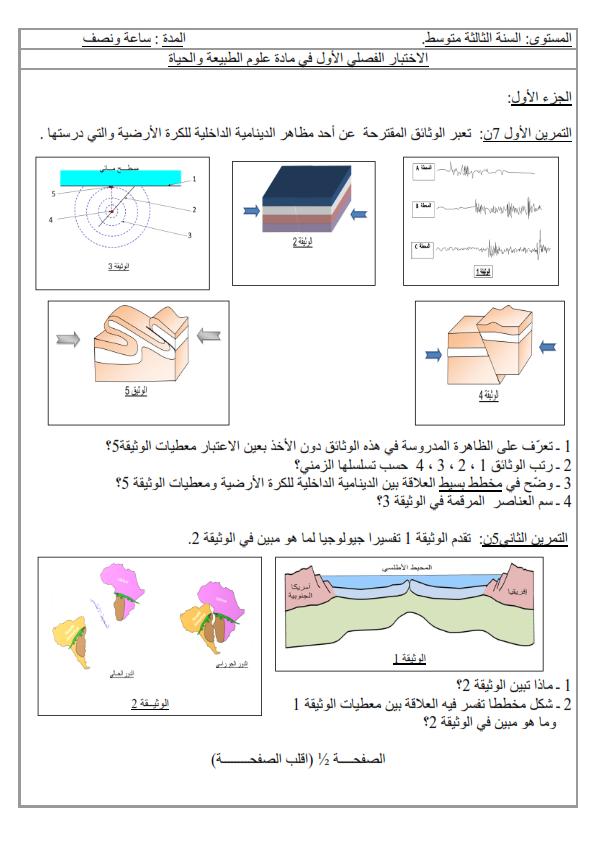 اختبار الفصل الاول في مادة العلوم الطبيعية