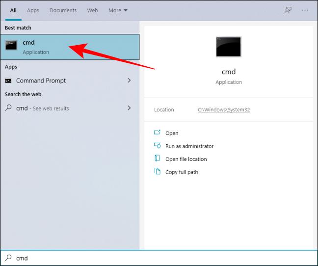 افتح موجه الأوامر من Windows Search