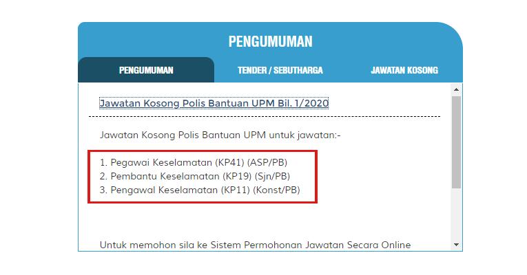 Jawatan Kosong Polis Bantuan Di Universiti Putra Malaysia Upm Jobcari Com Jawatan Kosong Terkini