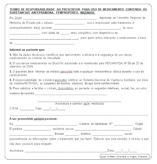 Modelo do Termo de Responsabilidade do Prescritor para uso do Medicamento contendo a substância Anfepramona, Femproporex, Mazindol