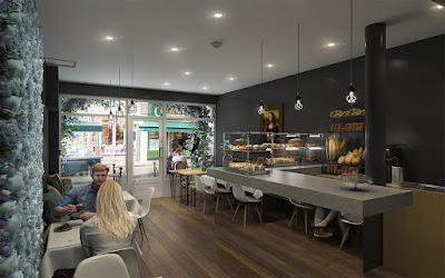 Perspective 3d intérieur cafétéria coffee shop