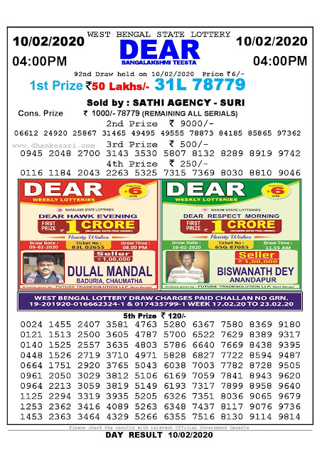 West Bengal State 10-02-2020  Lottery Sambad Result 400 PM