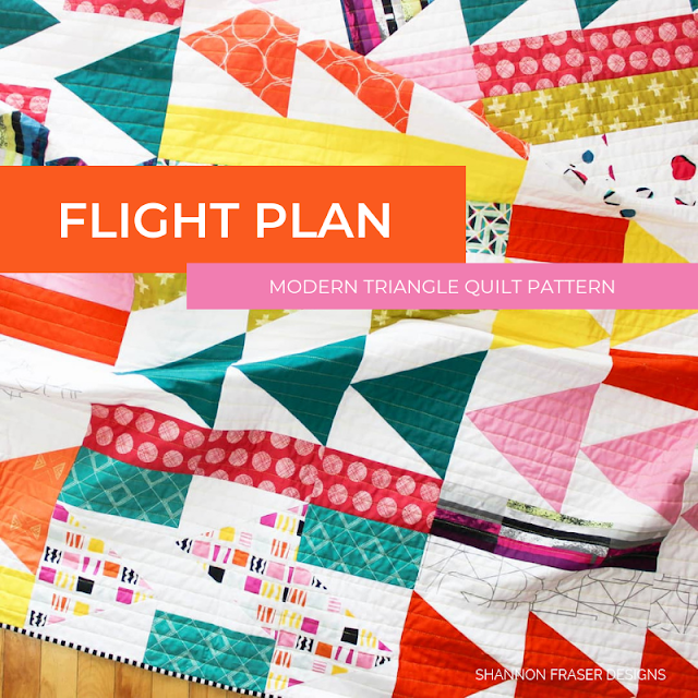 Flight Plan Quilt Pattern | Modern Triangle Quilt by Shannon Fraser Designs #trianglequilt #modernquiltpattern