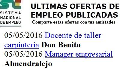 Almendralejo, Don Benito, Badajoz, Lanzadera de Empleo Virtual. Ofertas del Sistema Nacional de Empleo