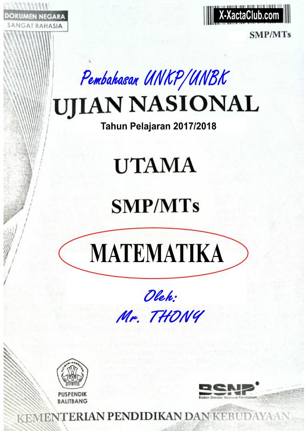 Kumpulan Soal Un Matematika Smp Pdf : kumpulan, matematika, SALINAN, PEMBAHASAN, UNKP/UNBK, MATEMATIKA, X-XACTA
