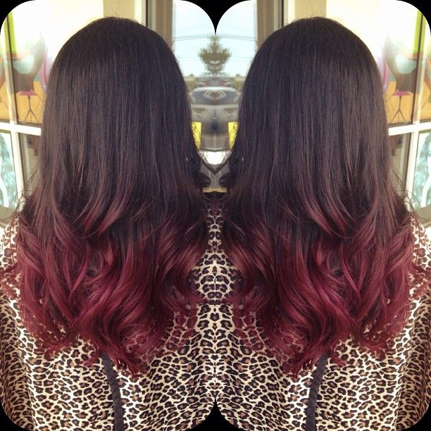 Dark Burgundy Red Brown Ombre Hair Color