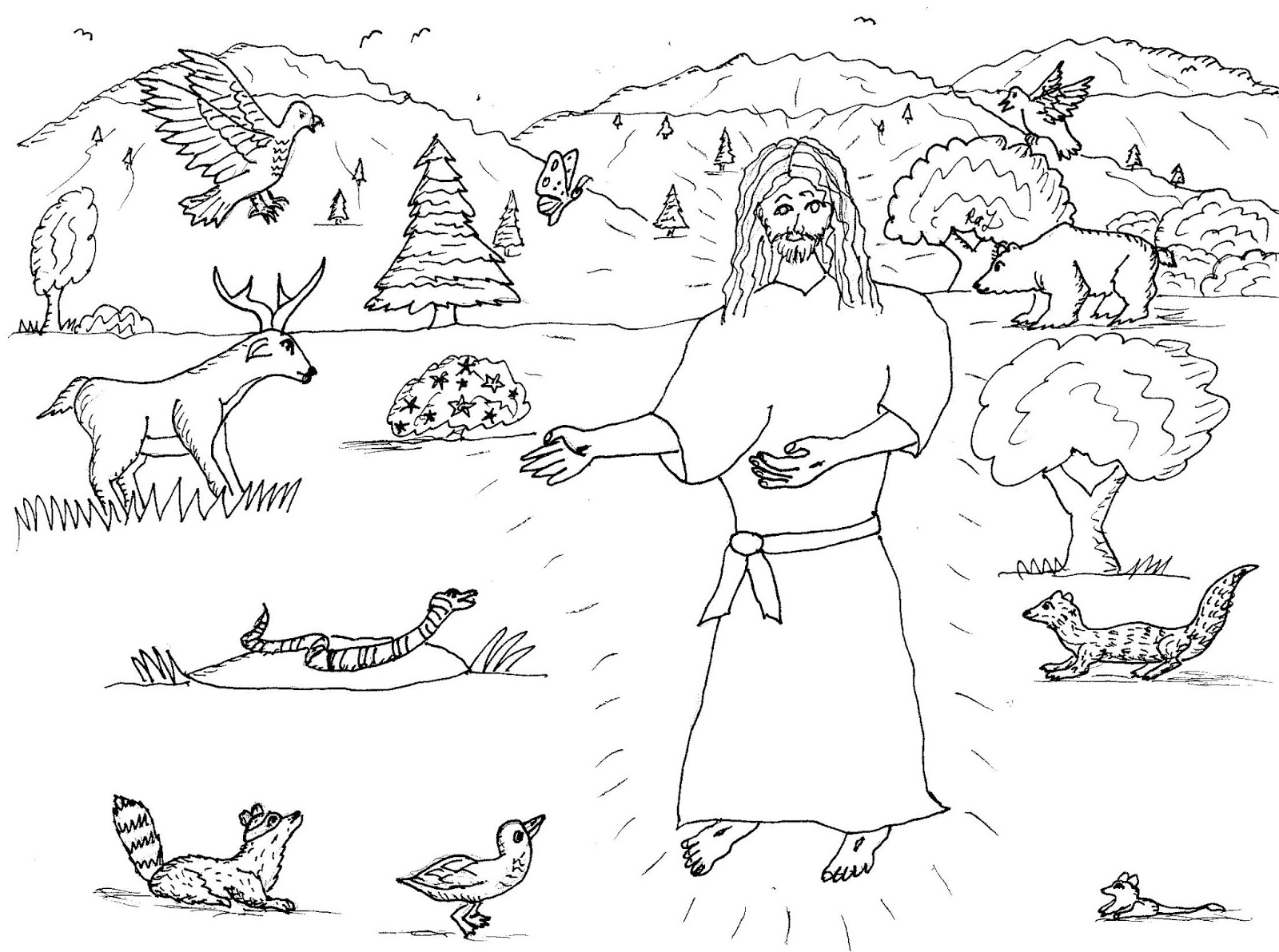 Robin S Great Coloring Pages Jesus Visits The Animals In