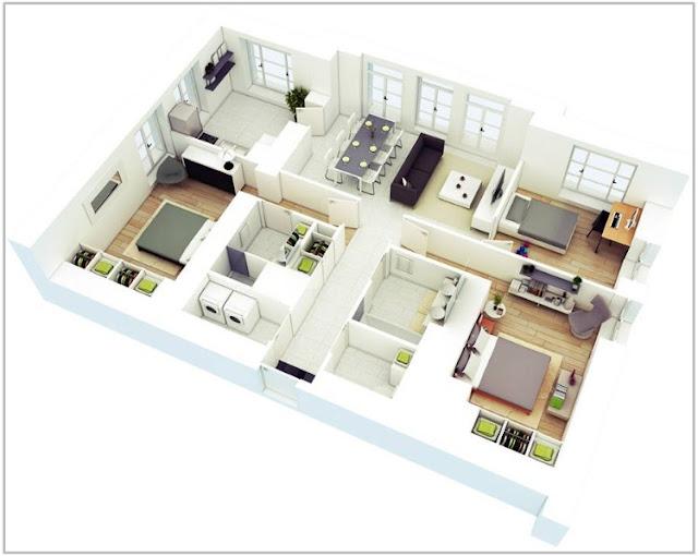 Rumah 2 Lantai 3 Kamar Tidur dengan Ruang Kerja Pribadi