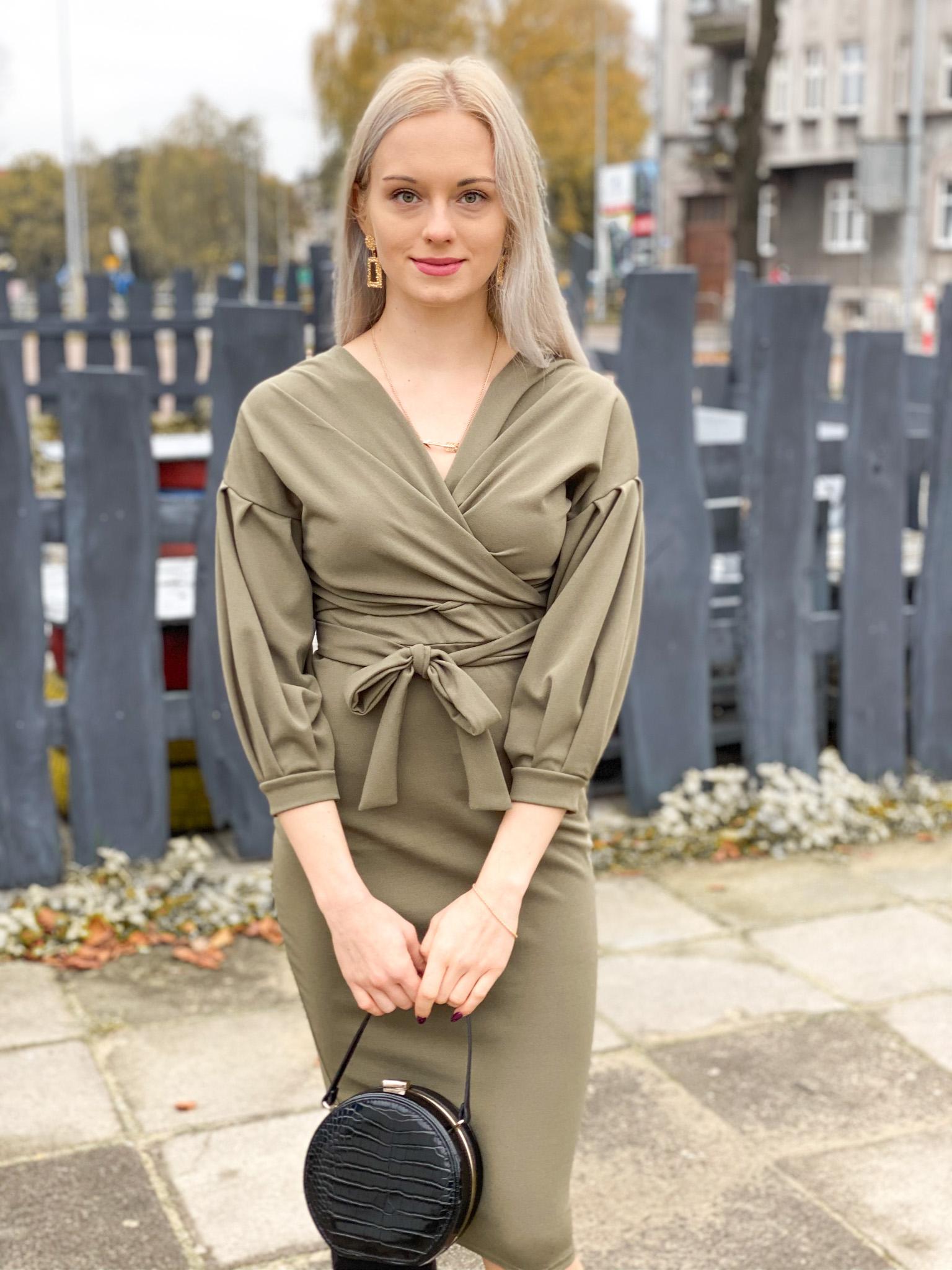 Khaki Belted Bodycon Midi Dress - Angelica - Femme Luxe