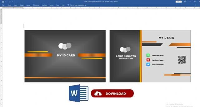 Kartu Nama Word Gratis : Download Template Kartu Nama Word