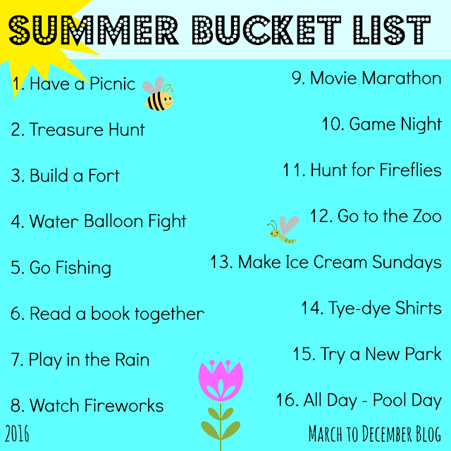2016 Summer Bucket List by march to december