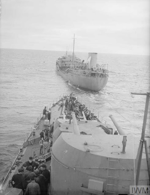 HMS Hermione being refueled at sea, 30 January 1942 worldwartwo.filminspector.com